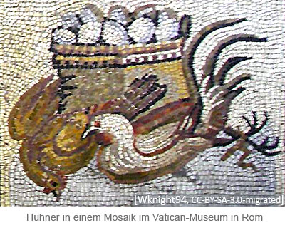 Farbfoto: Hühner + Eier in einem Mosaik im Vatican-Museum in Rom