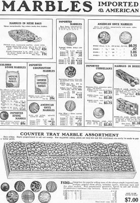 sw-Reklameblatt für Murmeln