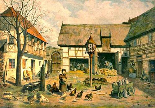 Farblitho: Bauernhof mit Gänsen, Hühnern und Tauben - 1890