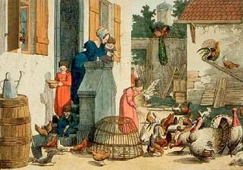 Farblitho: diverses Geflügel tummelt sich im Hof hinterm Haus ~1835