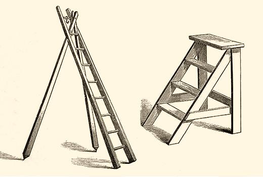 Zeichnung: Obstleiter mit 2 Ständern und Trittleiter mit 3 Stufen und oberer Standfläche - 1889