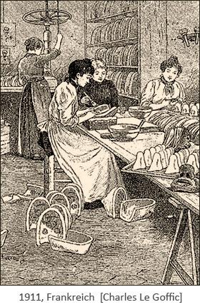 Holzstich: Maskenmacherinnen bei der Arbeit - 1911, Frankr.