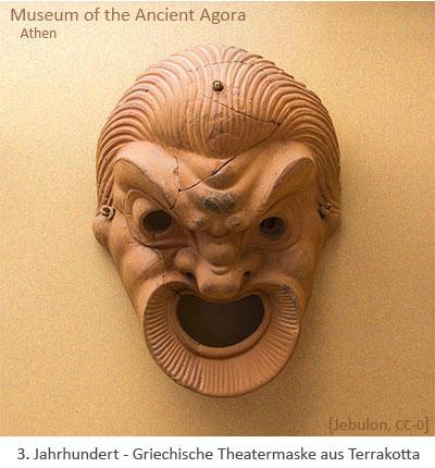 Farbfoto: Griechische Theatermaske aus Terrakotta - 3. Jh