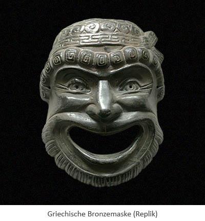 Farbfoto: Griechische Maske aus Bronze (Replik)