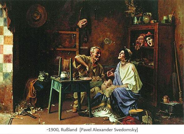 Gemälde: vergnügtes Pärchen beim Maskenmachen ~1900, Rußland
