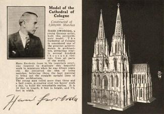 sw Fotokarte: Modell des Kölner Doms aus 2 500 000 Streichhölzern ~ 1930