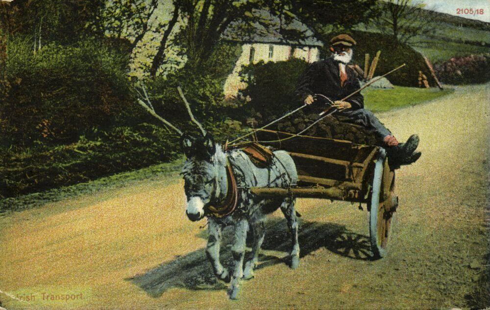 alter Mann auf mit Torf beladenem Eselskarren