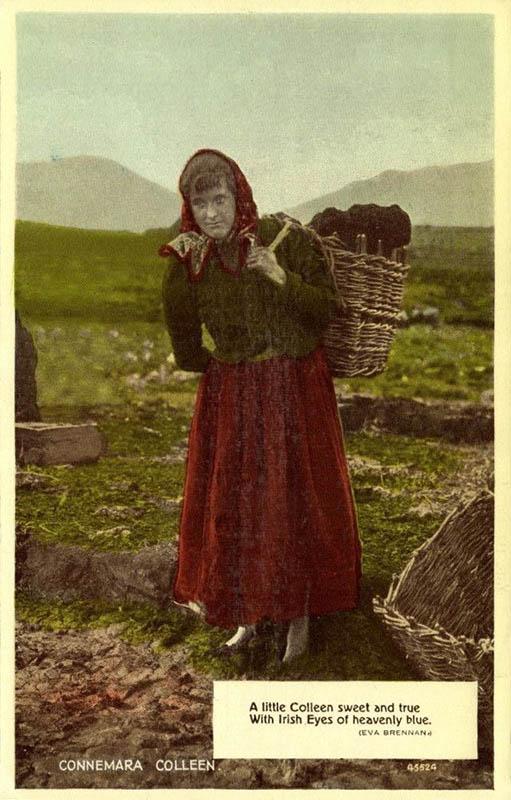 Mädchen mit Torf im Korb