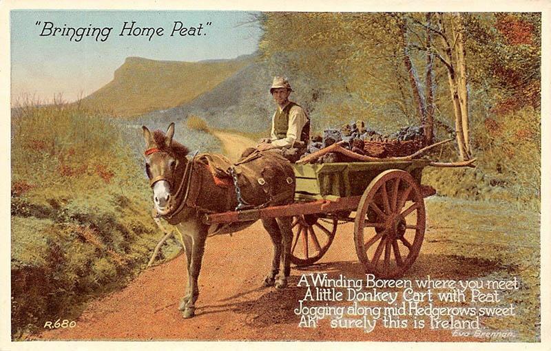 Postkarte: Mann auf Pferdekarren mit Torf beladen