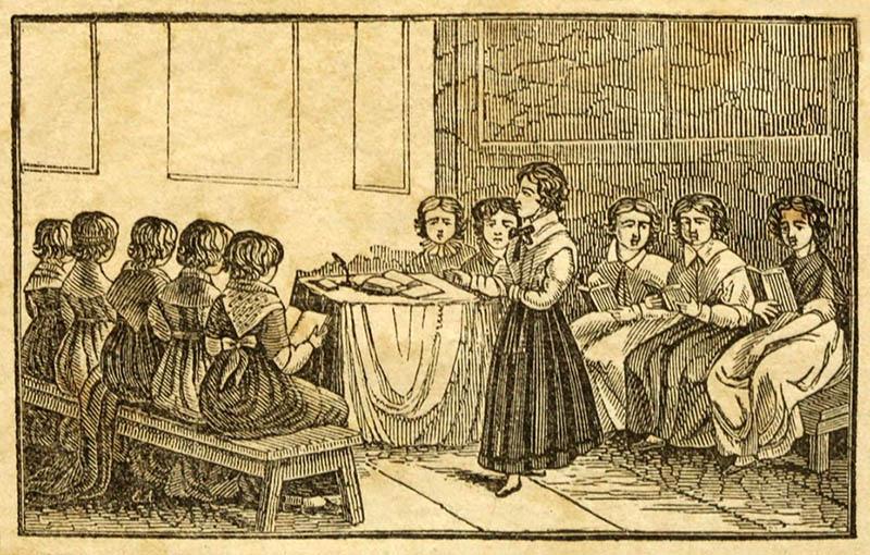 Holzstich: Lehrerin unterrichtet Mädchen