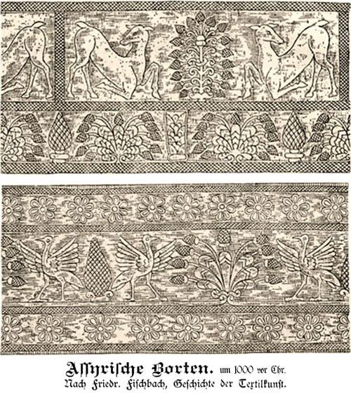 Zeichung: Borten aus dem alten Assyrien