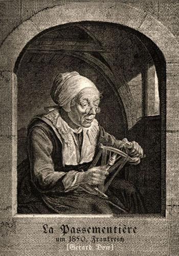 Kupferstich: alte Frau macht Posamenten ~ 1850, Frankreich