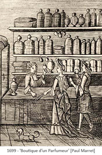Holzschnitt: Paar in Parfümladen -1699, Frankr.