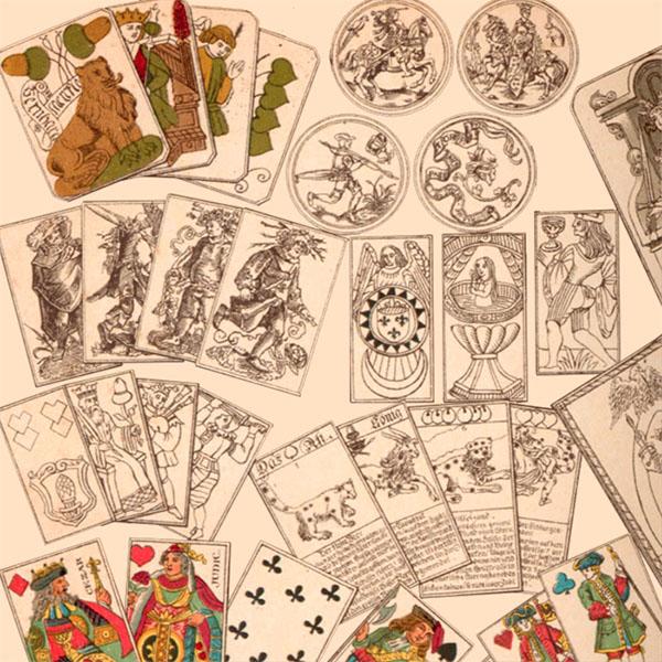 Holzschnitte: Spielkarten-Collage