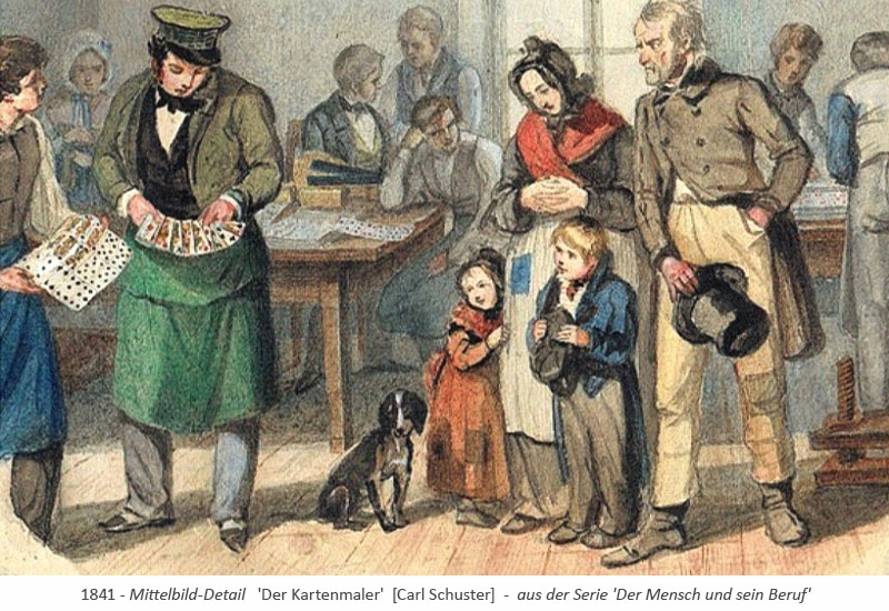 kolor. Stich: Familie zu Besuch in Kartenmalerwerstatt - 1841