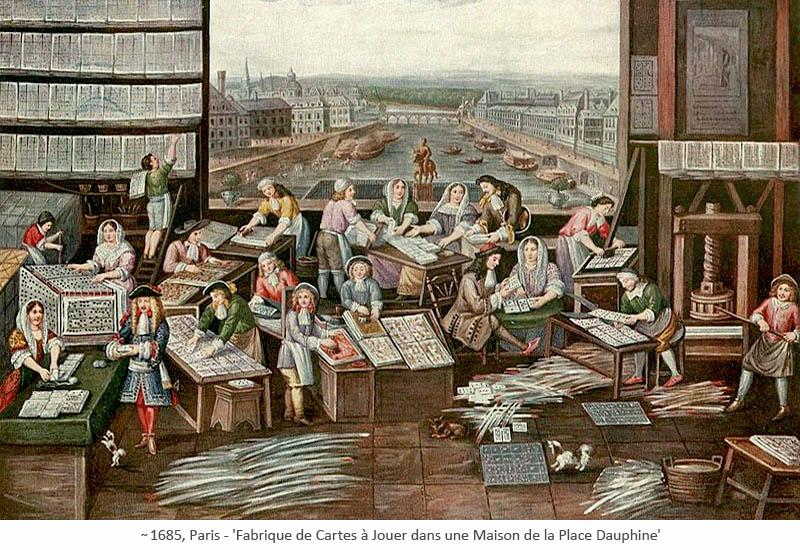 Gemälde: Pariser Kartenmacher-Fabrik ~1685
