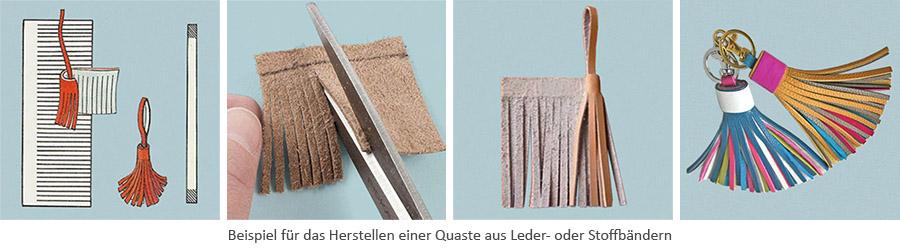 Farbfoto: Herstellen einer Quaste aus Leder- o. Stoff