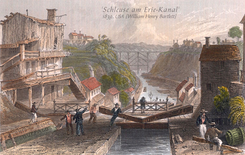 Aquarell: Schleuse am Erie-Kanal - 1839
