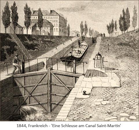 Stahlstich: Eine Schleuse am Canal Saint-Martin - 1844, FR