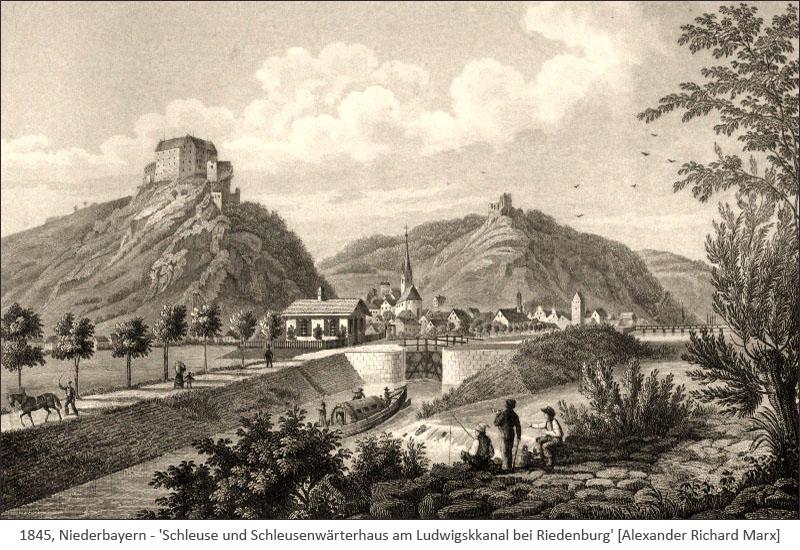 Stahlstich: Schleuse u. Schleusenwärterhaus am Ludwigskanal - 1845, Niederbayern