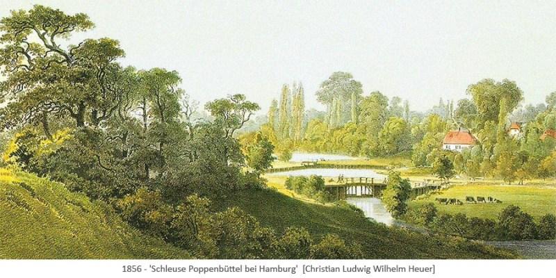 Gemälde: Schleuse Poppenbüttel umgeben von Wiesen u. Wald - 1856