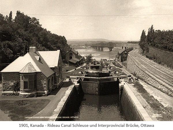 sw Fotopostkarte: Rideau Canal Schleuse u. Interprovincial Brücke, Ottawa - 1901, CA
