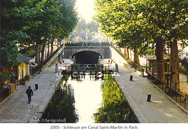 Farbfoto: Schleuse am Canal Saint-Martin in Paris - 2005