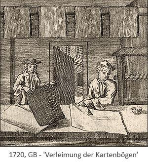 Kupferstich: 2 Männer verleimen Spielkartenbögen - 1720, GB