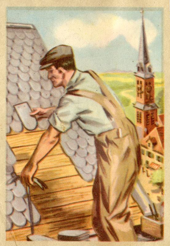 Sammelbild: Dachdecker bringt Ziegel am Dach an