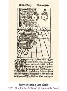 Zeichnung + altfrz. Beschreibung: Fermentation von Essig - 1501