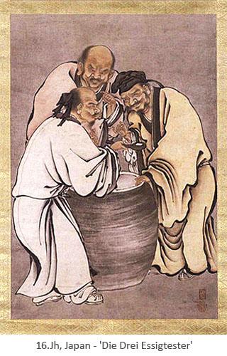 Rollbild: 3 Essigmacher verkosten Essig aus gr. Tongefäß - 16.Jh, JP