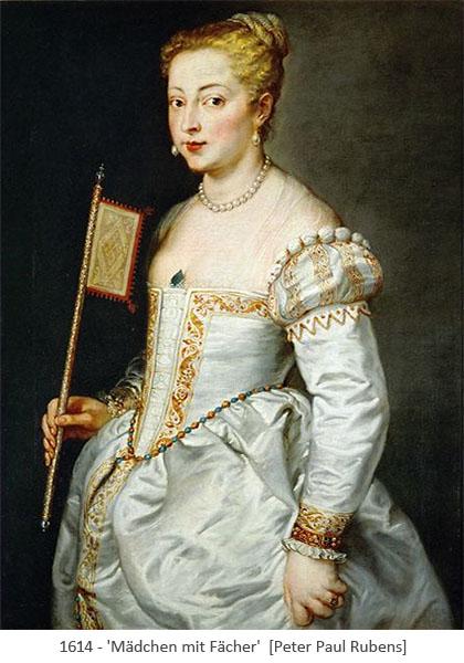 Gemälde: prachtvoll gekleidete junge Frau mit Fahnenfächer - 1614