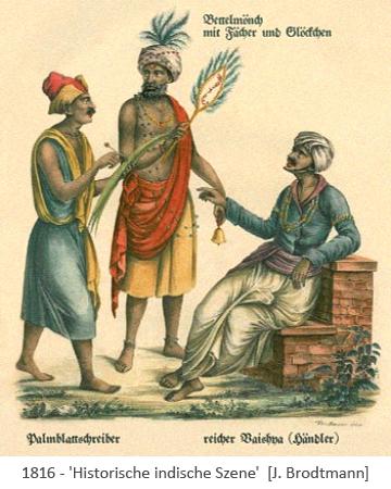 altkol. Litho: Bettelmönch wedelt Kaufmann, der einem Palmblattschreiber diktiert, Luft zu - 1816