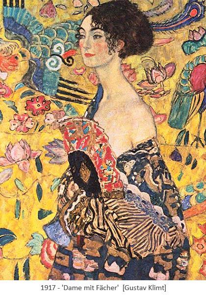Gemälde: Frau mit Fächer, die nahezu mit Phantasiehintergrund verschmilzt - 1917