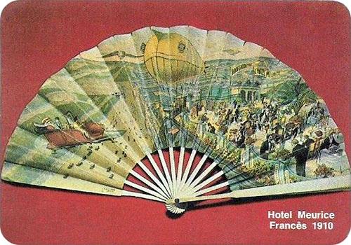 spanisches Sammelbild mit franz. Fächer von 1910