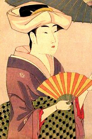 gemalte Künstler-Ak: Japanerin mit geöffnetem Faltfächer