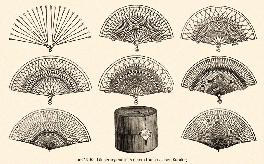 Fächerangebote in einem franz. Katalog ~1900