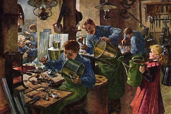 Gemälde: viele Tätige fertigen Eimer und Kannen an