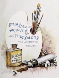 Reklame-AK: Pinsel, Palette, Farbtuben