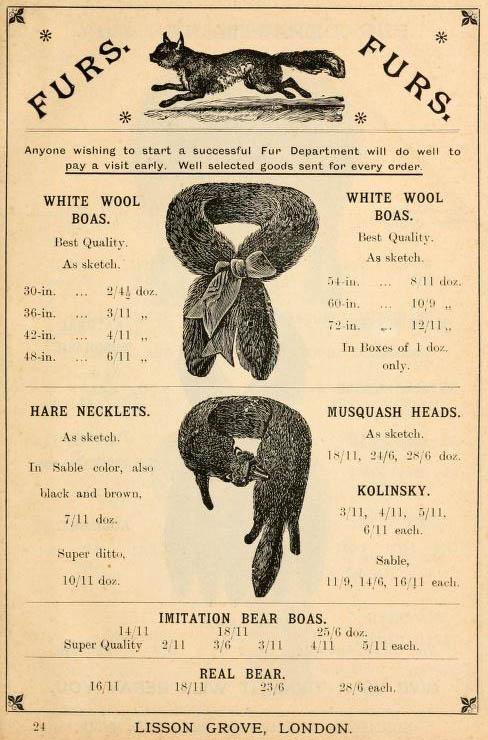 Katalogblatt für Pelze