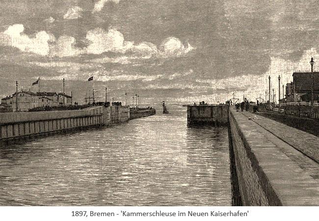 Holzstich: Kammerschleuse im Neuen Kaiserhafen - 1897, Bremen