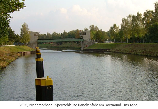 Farbfoto: neue Sperrschleuse Hanekenfähr am Dortmund-Ems-Kanal - 2008, Niedersachsen