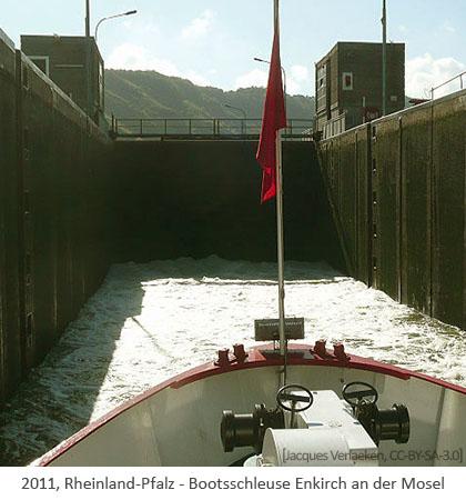 Farbfoto: Bootsschleuse Enkirch an der Mosel - 2011, Rheinl.-Pfalz