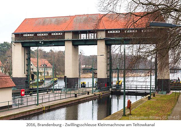 Farbfoto: Zwillingsschleuse Kleinmachnow am Teltowkanal - 2016, Brandenburg