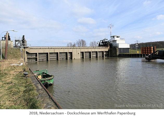 Farbfoto: Dockschleuse am Werfthafen Papenburg - 2018, Niedersachsen