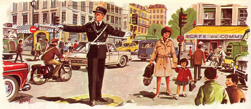 viel Verkehr: Polizist regelt ihn