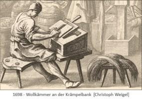 Kupferstich: Wollkämmer an der Krämpelbank - 1698