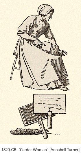 Holzschnitt: Frau mit Handkarden - 1820, GB