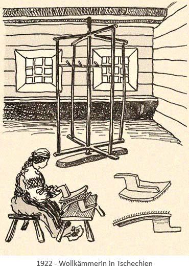 Zeichnung: tschechische Wollkämmerin -1922