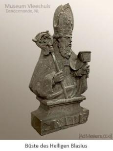 Sandsteinbüste des Hl. Blasius mit Bischofsstab u. Wollkamm in Händen - NL